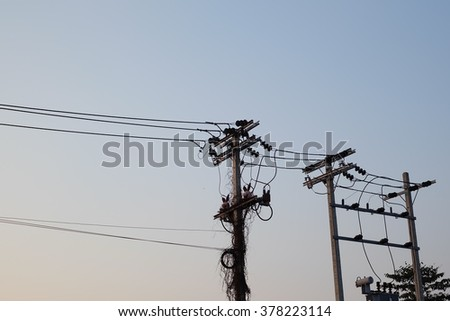 electricity pole, electric post,  eletric cable