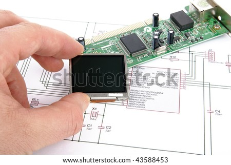 Electronic board with schematic - stock photo