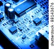 electronic circuit close-up. Macro background - stock photo