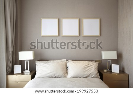 Elegant house bedroom interiors - stock photo