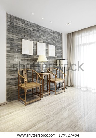 Elegant house interiors,Chinese-style chairs and walls - stock photo