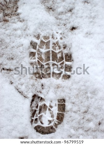 elevated view of footprint on snow covered ground