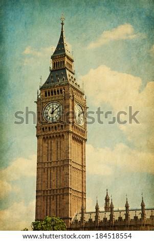Elizabeth Tower,  London, UK. Added paper texture - stock photo