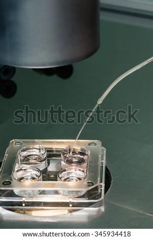 Embryologist transferring   eggs on vitrification solutions. Cryopreservation process. Equipment on laboratory of Fertilization, IVF. - stock photo