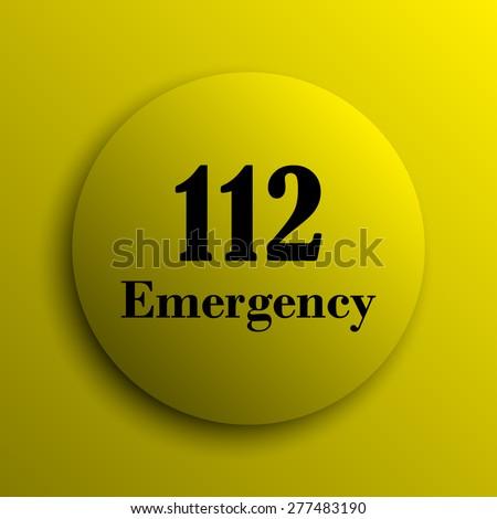 112 Emergency icon. Yellow internet button.  - stock photo