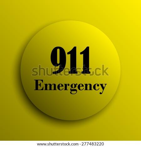 911 Emergency icon. Yellow internet button.  - stock photo