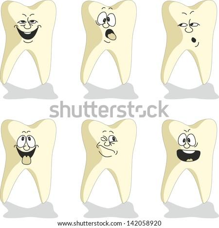 Emotion tooth cartoon set 010 - stock photo