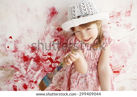 emotional portrait of a little girl with brush, art style - stock photo