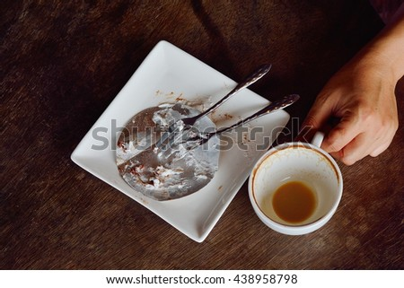 Empty coffee cup after drink  - stock photo