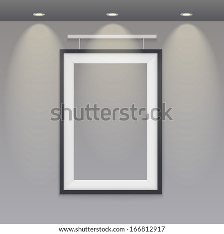 empty frame to the wall with lights