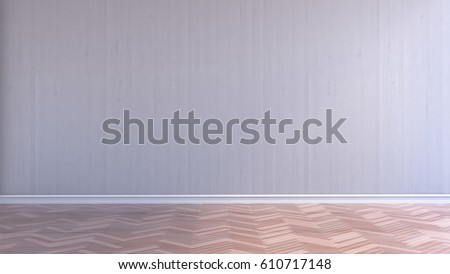 empty interior room with white wood wall and wood parquet floor 3d rendering
