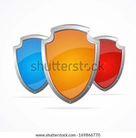 Empty metal shields. Protection concept - stock photo