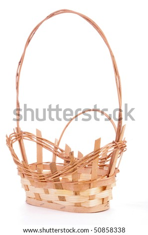 Empty Natural Wicker Handled Basket