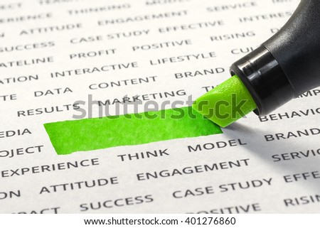 Empty of line ink highlighter space with marker on paper of business strategy word . for idea  business  concept   - stock photo