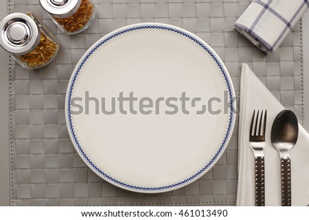 Empty plate, View from top with copy space.