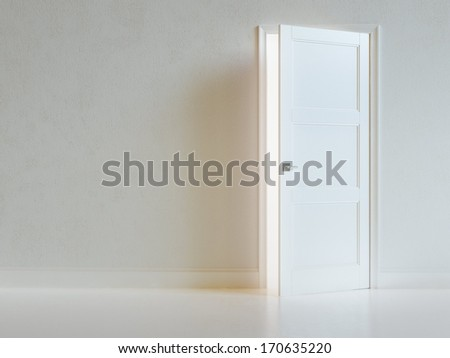 Empty White Room Interior With Opened Door. Abstract Architecture Background.