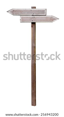 empty wooden sign on white background. Two directions - stock photo