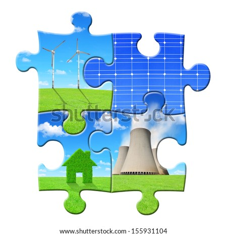 energy concepts from puzzle - stock photo