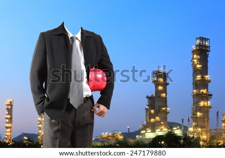 engineer standing area of refinery oil and gas project  - stock photo