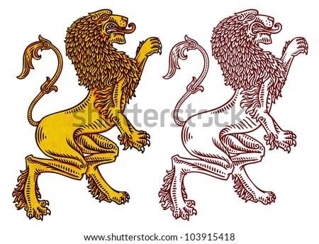 engraved heraldic lions - stock photo