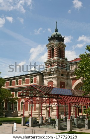 Entrance to Ellis Island Immigration Building in New York City - stock photo