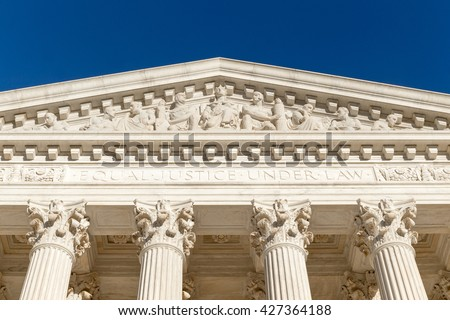 """""""Equal Justice Under Law"""" (Text at the front of Supreme Court of U.S.) - stock photo"""