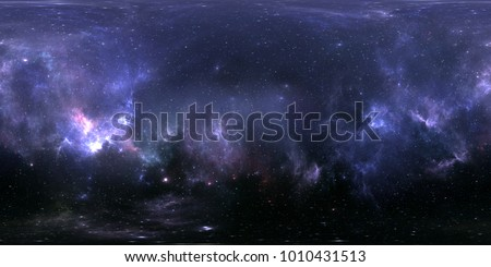 360 Equirectangular projection. Space background with nebula and stars. Panorama, environment map. HDRI spherical panorama. 3d illustration