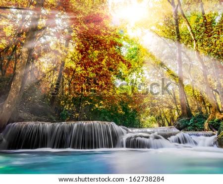 Erawan Waterfall in Kanchanaburi Province, Thailand - stock photo