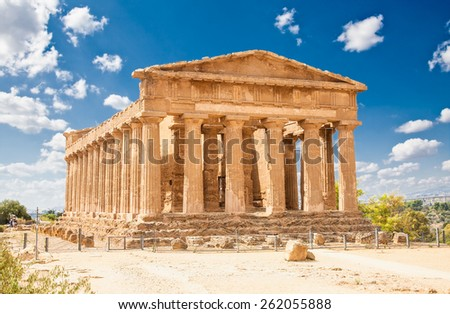 Ercole temple in the Valley of the Temples, Agrigento, Sicily island, Italy