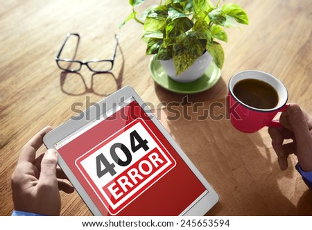 404 Error Warning Digital Device Wireless Browsing Concept - stock photo