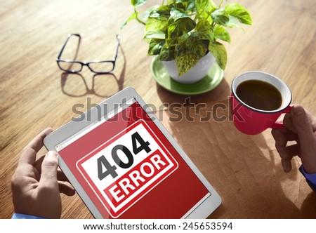 404 Error Warning Digital Device Wireless Browsing Concept - stock photo