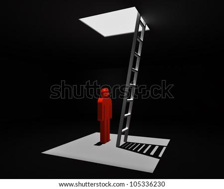 escape from dark room - stock photo