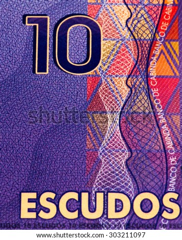 10 escudos bank note. Escudo is the currency of Cabinda province of Angola