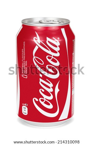 ESTONIA - AUGUST 16, 2014. Coca-Cola can isolated on the white background,clipping path included. Coca-Cola Company is the leading manufacturer of soda drinks in the world.  - stock photo