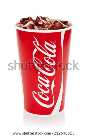 ESTONIA-AUGUST 16, 2014.Coca-Cola with ice cubes in cup, isolated on the white background.Coca-Cola Company is the leading manufacturer of soda drinks in the world. Illustrative editorial photo.