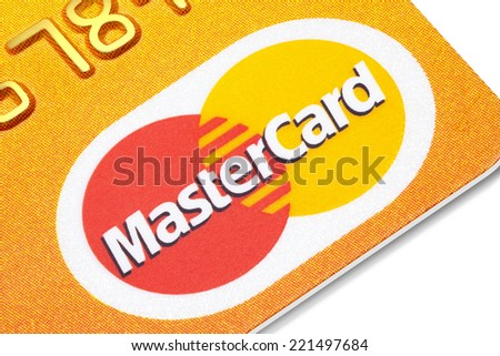 Estonia - September 24, 2014. Close up of Mastercard credit card isolated on the white background. Mastercard is one of the biggest credit card companies in the world.