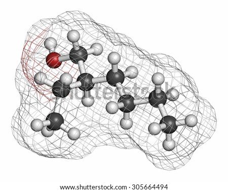 2-ethylhexanol (2-EH) molecule. Used as solvent, fragrance component and chemical precursor. Atoms are represented as spheres with conventional color coding: hydrogen (white), carbon (grey), etc - stock photo