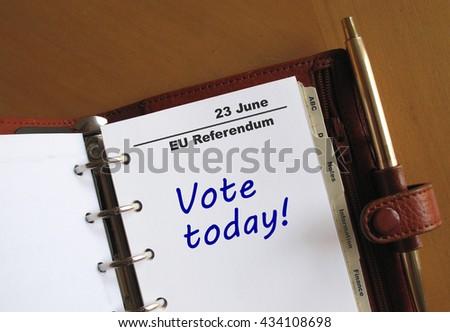 EU Referendum reminder in a personal organizer                        - stock photo