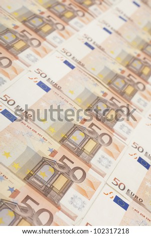 50 euro banknote background with shallow dof - stock photo