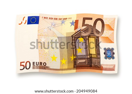 50 euro banknote curled isolated on white - stock photo
