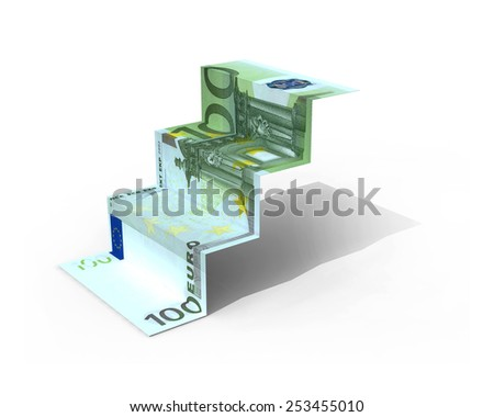 100 euro banknote folded as steps on white background, 3d illustration - stock photo