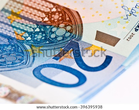 20 euro banknotes, close up