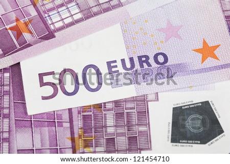 500 euro banknotes. Detail. - stock photo