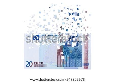 50 euro banknotes dissolving as a concept of economic crisis - stock photo