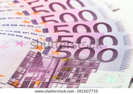 500 euro banknotes in a row - stock photo