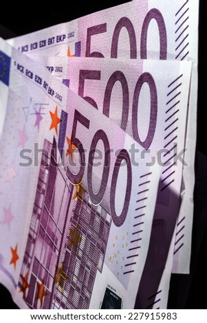 500 euro banknotes in a row. European Union Currency