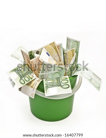 50 100 200 euro banknotes in green plastic bucket