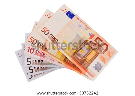 5, 10, 20, 50  Euro banknotes isolated on a white background