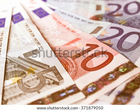 Euro banknotes money european currency vintage - stock photo