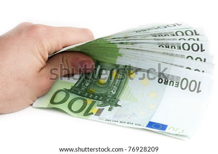 100 euro banknotes on a white background
